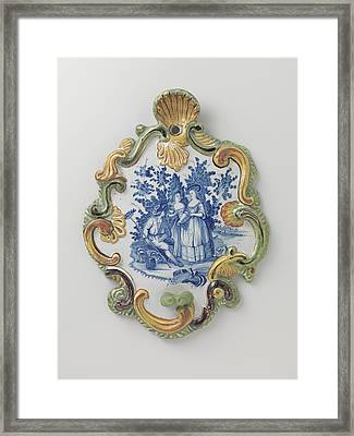 Applique, Multicolor Painted With A Landscape With Figures Framed Print by Quint Lox