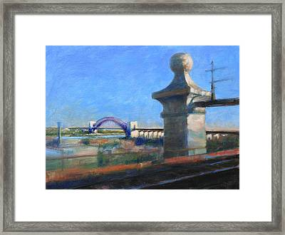 Approaching Hell Gate Bridge By Rail Framed Print