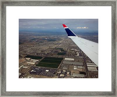 Approaching Phoenix Az Wing Tip View Framed Print