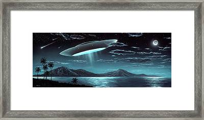 Approaching Spaceship Framed Print by Richard Bizley
