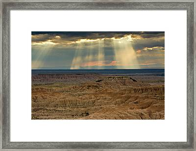 Approaching Storm And Crepuscular Rays Framed Print