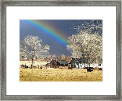 Approaching Storm At Cattle Ranch Framed Print by Frank Wilson