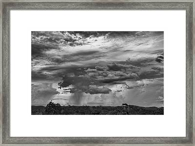 Approaching Storm Black And White Framed Print