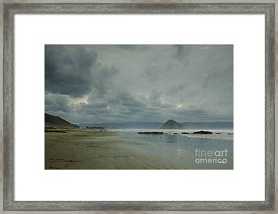 Approaching Storm - Morro Rock Framed Print