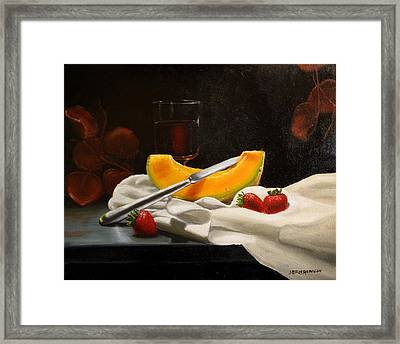 Apres Le Repas Framed Print by Jan Brieger-Scranton