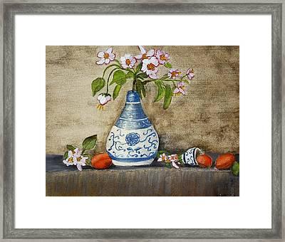 Apricot Still Life Ll Framed Print by Kristie Zweig Christensen