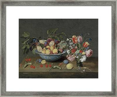 Apricots Plums And Grapes In A Bowl Framed Print by Jacob Van Hulsdonck