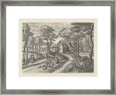 April. Julius Goltzius, Gillis Mostaert Framed Print by Gillis Mostaert (i) And Claes Jansz. Visscher (ii)