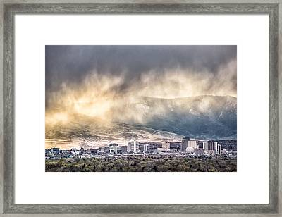 April Showers Over Reno Framed Print by Janis Knight