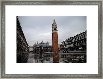 Aqua Alta Piazza San Marco Framed Print by Jacqueline M Lewis
