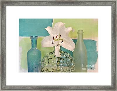 Aqua And Lime And Bubble Vase Framed Print by Marsha Heiken