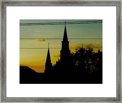 Aqua And Orange Sky Framed Print by Sherry Dooley