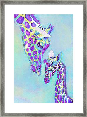 Aqua And Purple Loving Giraffes Framed Print