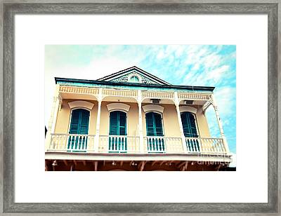 Framed Print featuring the photograph Aqua And Yellow House by Sylvia Cook