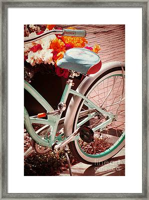 Framed Print featuring the digital art Aqua Bicycle by Valerie Reeves