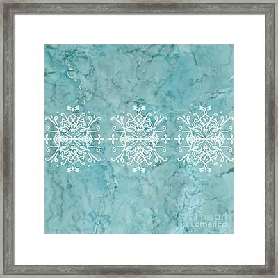 Aqua Blue Marble-royal White Framed Print