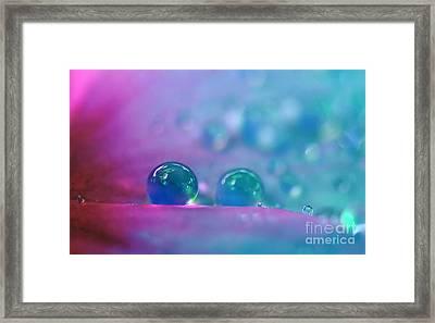 Aqua Blue Water Droplets Framed Print by Kaye Menner