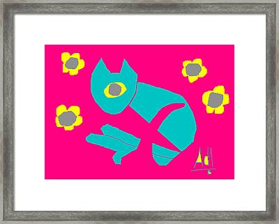 Aqua Cat Framed Print by Anita Dale Livaditis