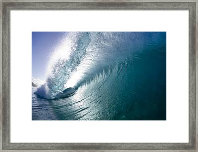 Aqua Curl Framed Print by Sean Davey