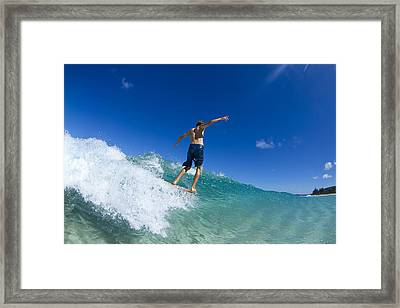Aqua Glide Framed Print by Sean Davey