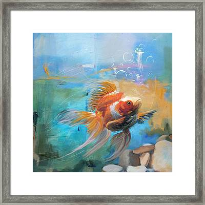 Aqua Gold Framed Print by Catf