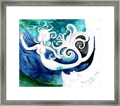 Aqua Mermaid Framed Print by Genevieve Esson