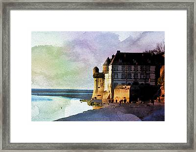 Aqua Real Mount St Michael Framed Print