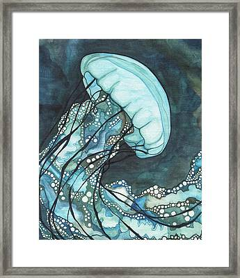 Aqua Sea Nettle Framed Print