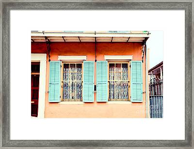 Framed Print featuring the photograph Aqua Shutters by Sylvia Cook