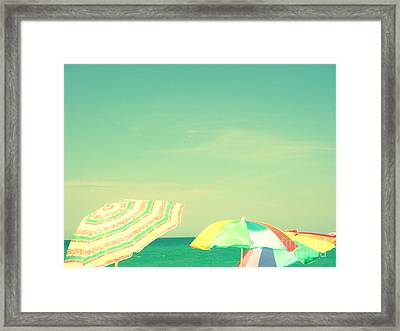 Framed Print featuring the digital art Aqua Sky With Umbrellas by Valerie Reeves