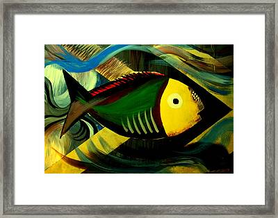 Framed Print featuring the painting Aqua by Steve Godleski