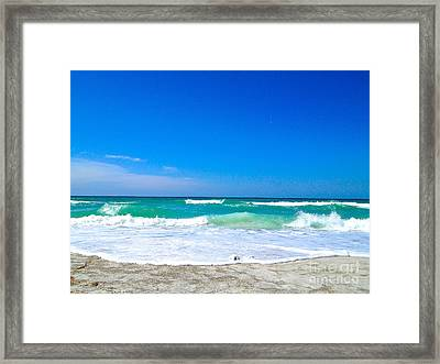 Aqua Surf Framed Print by Margie Amberge