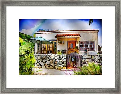Aqua Umbrella - Chuck Staley Framed Print by Chuck Staley