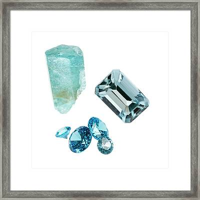 Aquamarine Gemstones And Crystal Framed Print