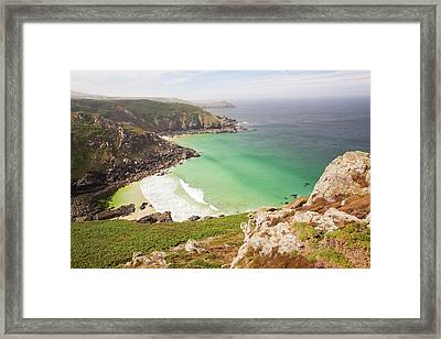 Aquamarine Seas In A Cove Near Bosigran Framed Print by Ashley Cooper