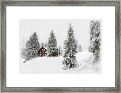 Aquarell - Beautiful Winter Landscape With Trees And House Framed Print