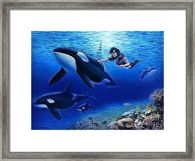 Aquaria's Orcas Framed Print