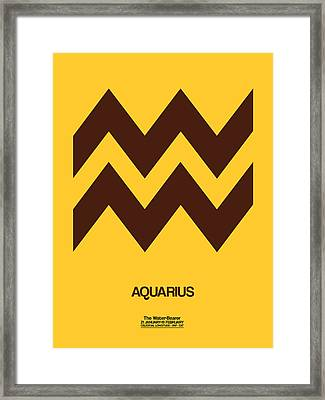 Aquarius Zodiac Sign Brown Framed Print by Naxart Studio