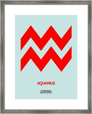 Aquarius Zodiac Sign Red Framed Print