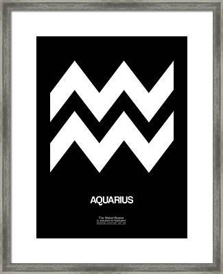 Aquarius Zodiac Sign White Framed Print