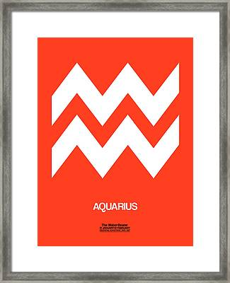 Aquarius Zodiac Sign White On Orange Framed Print by Naxart Studio