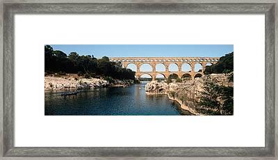Aqueduct Across A River, Pont Du Gard Framed Print