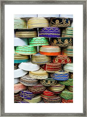 Arab Caps For Sale, Tunisia, North Framed Print by Nico Tondini