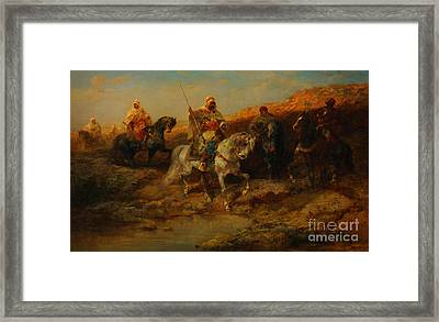 Arab Horsemen By An Oasis Framed Print by Celestial Images