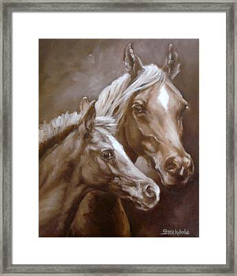 Framed Print featuring the painting Arab Mare And Foal by Margaret Stockdale