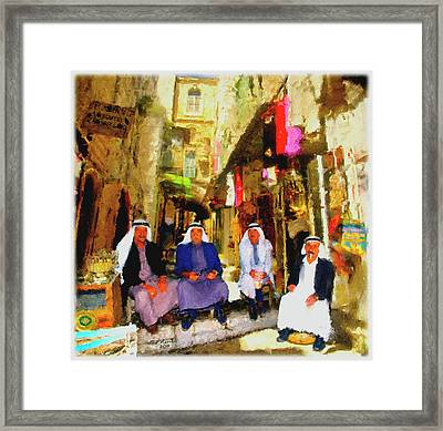 Framed Print featuring the painting Arab Merchants Of Jerusleum by Ted Azriel