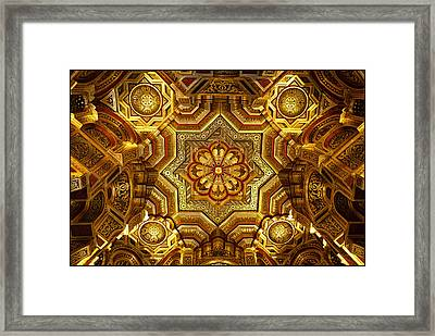 Arab Room Ceiling At Cardiff Castle Framed Print by Adele Buttolph