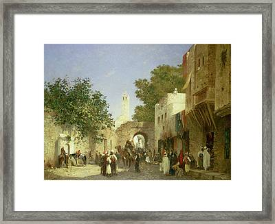 Arab Street Scene Framed Print by Honore Boze