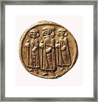 Arabian-byzantine Coin. Coin. France Framed Print by Everett