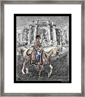 Arabian Horse Black And White Framed Print by Blake Richards